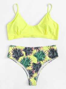 Plus Leaf Print Bikini Set