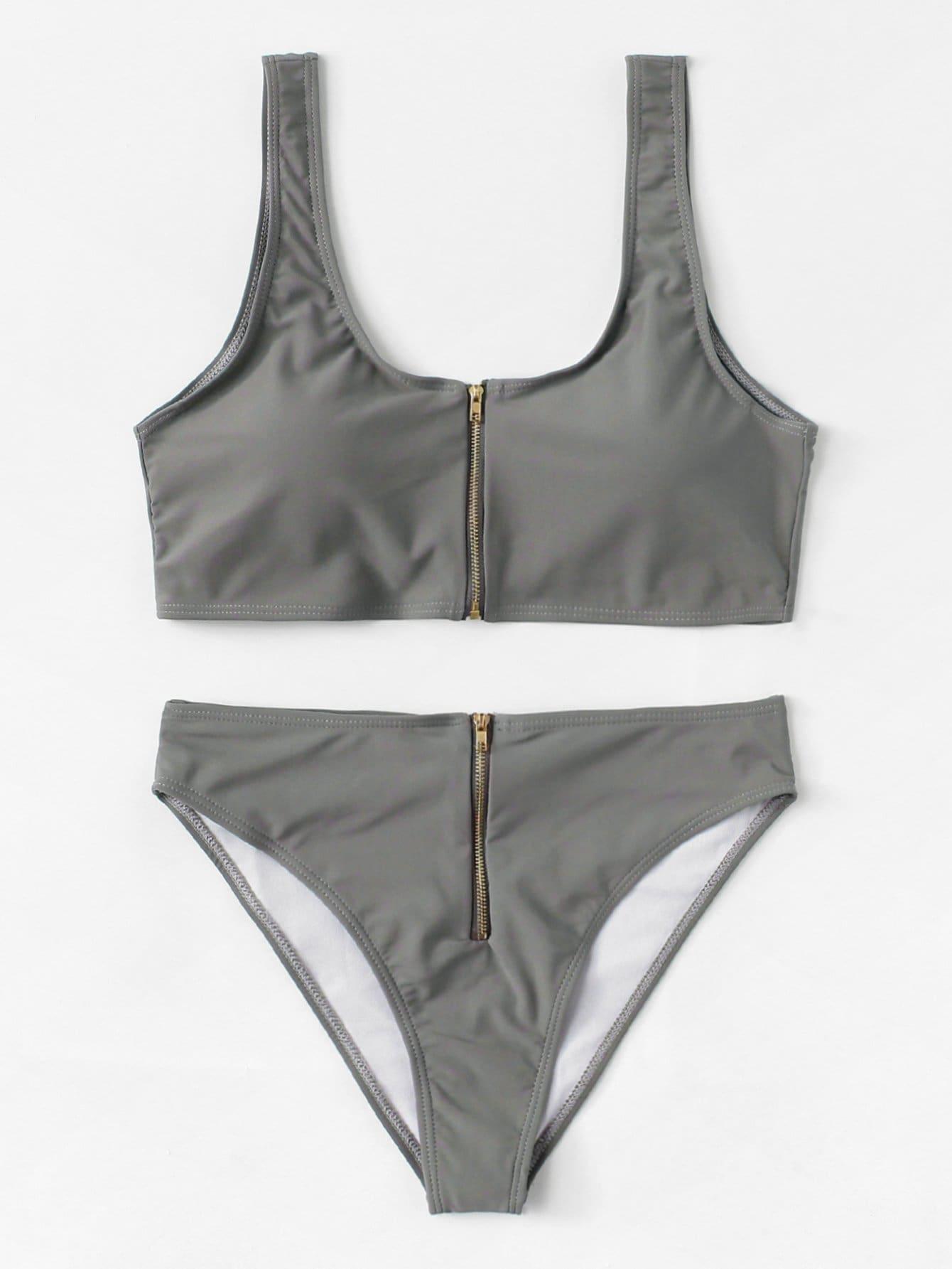 Zipper Front Plain Bikini Set zipper front plain bikini set