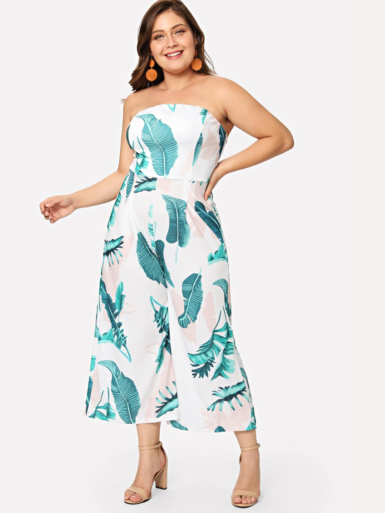 Wide Leg leaf print Tube Jumpsuit wide leg leaf print tube jumpsuit