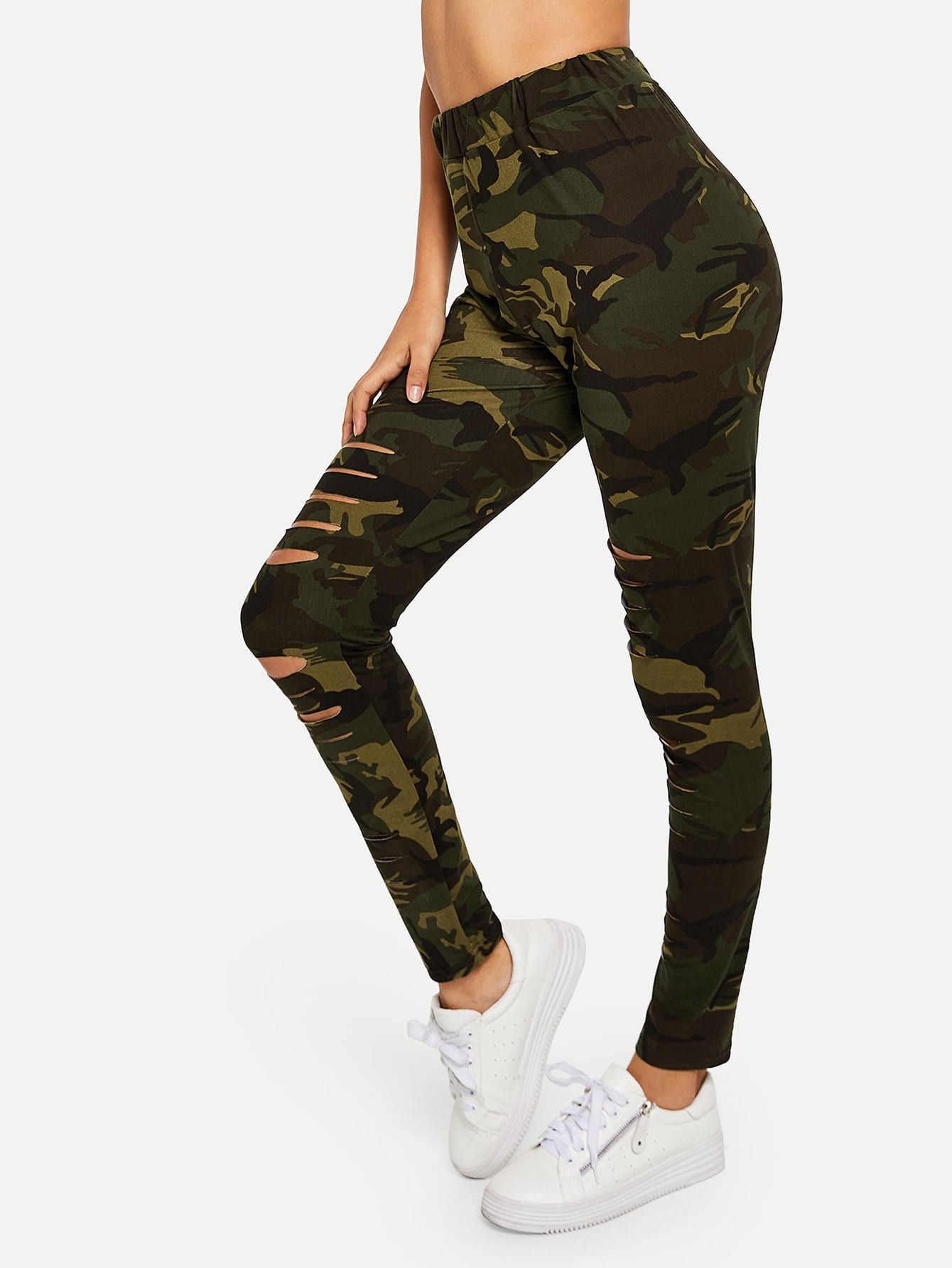 Ripped Skinny Camo Pants chic women s ripped skinny jeans