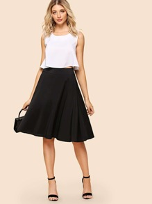 Solid Crop Cami With Skirt