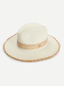 Frayed Trim Straw Hat
