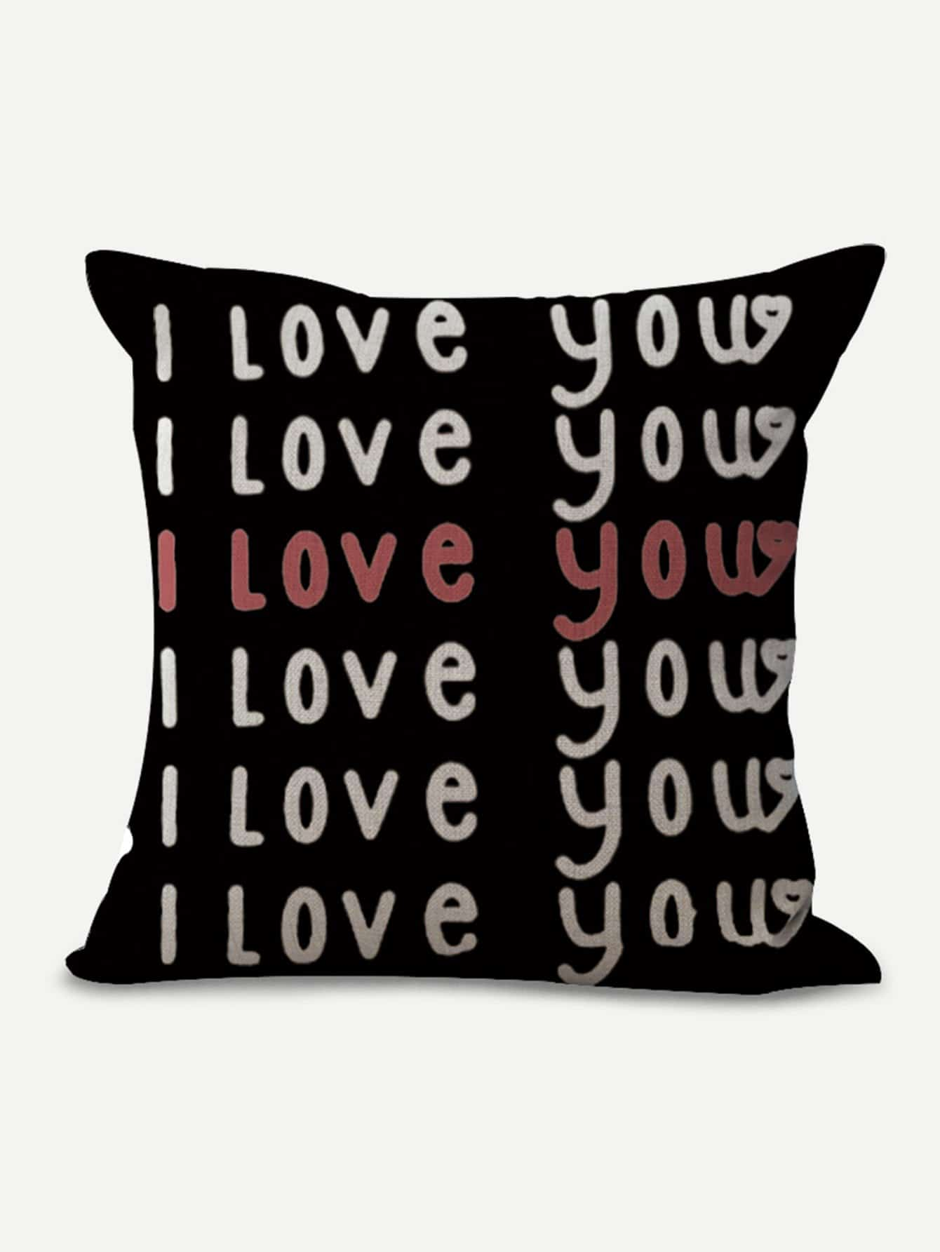 Letter Print Pillow Cover