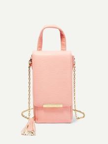 Tassel Detail Chain Pouch Bag