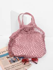 Net Design Tote Bag With Inner Pouch