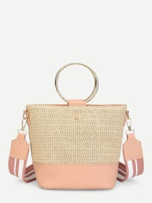 Two Tone Shoulder Bag With Ring Handle