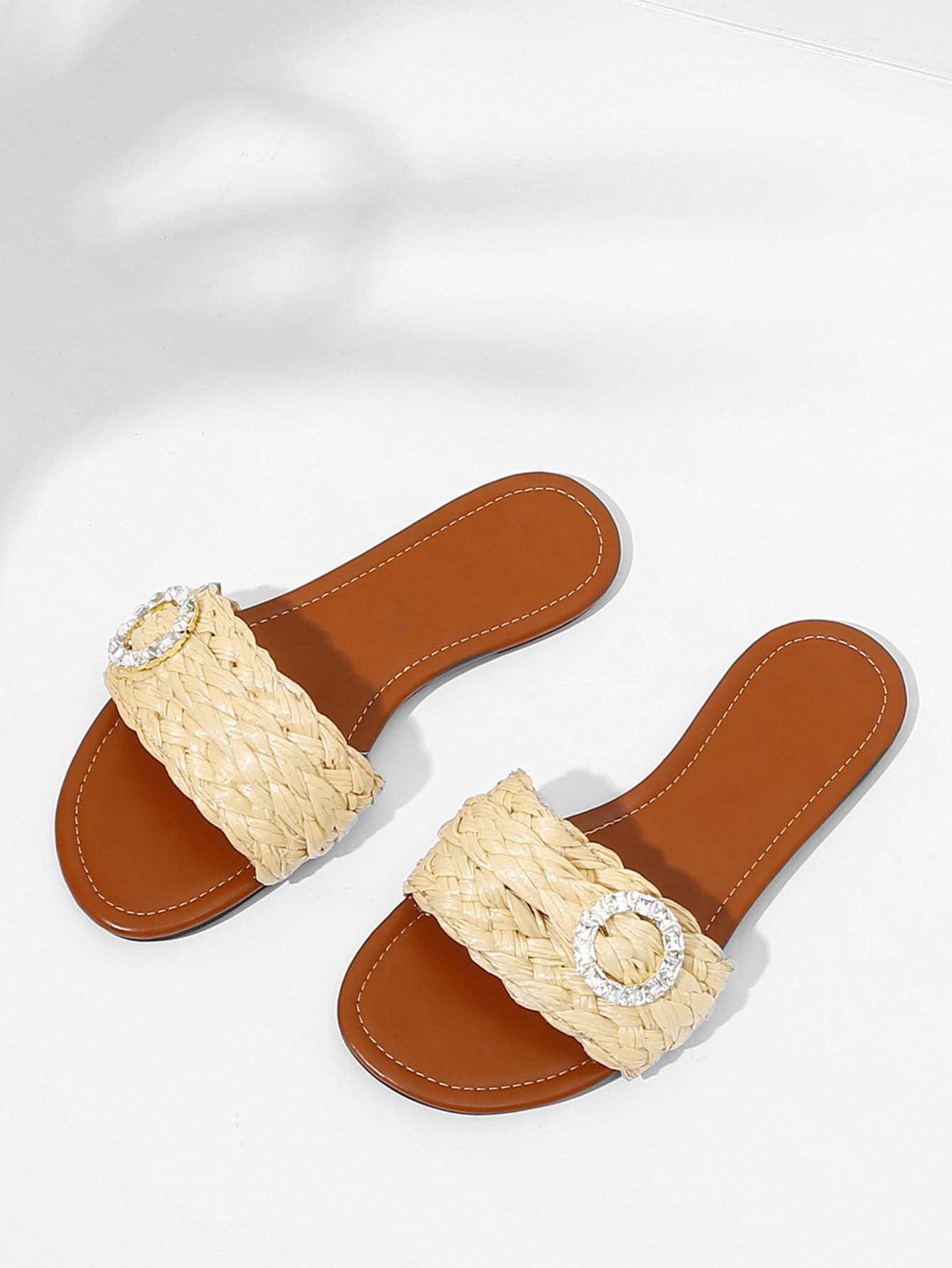 Rhinestone Decorated Woven Flat Sandals woven design straw flat sandals