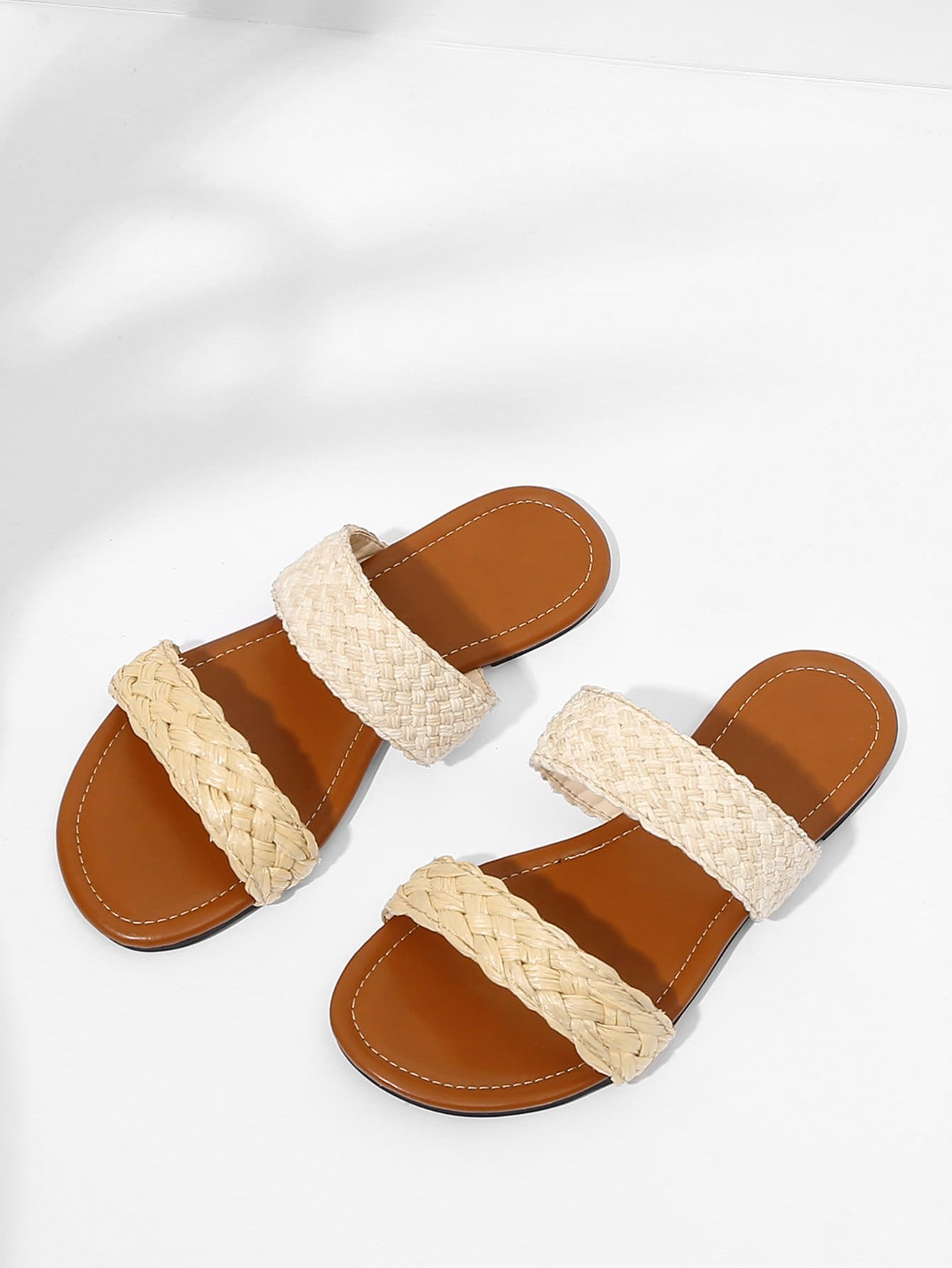 Straw Woven Flat Sandals woven design straw flat sandals