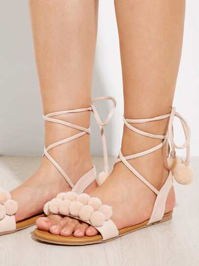 Romwe / Pom Pom Decorated Lace Up Flat Sandals