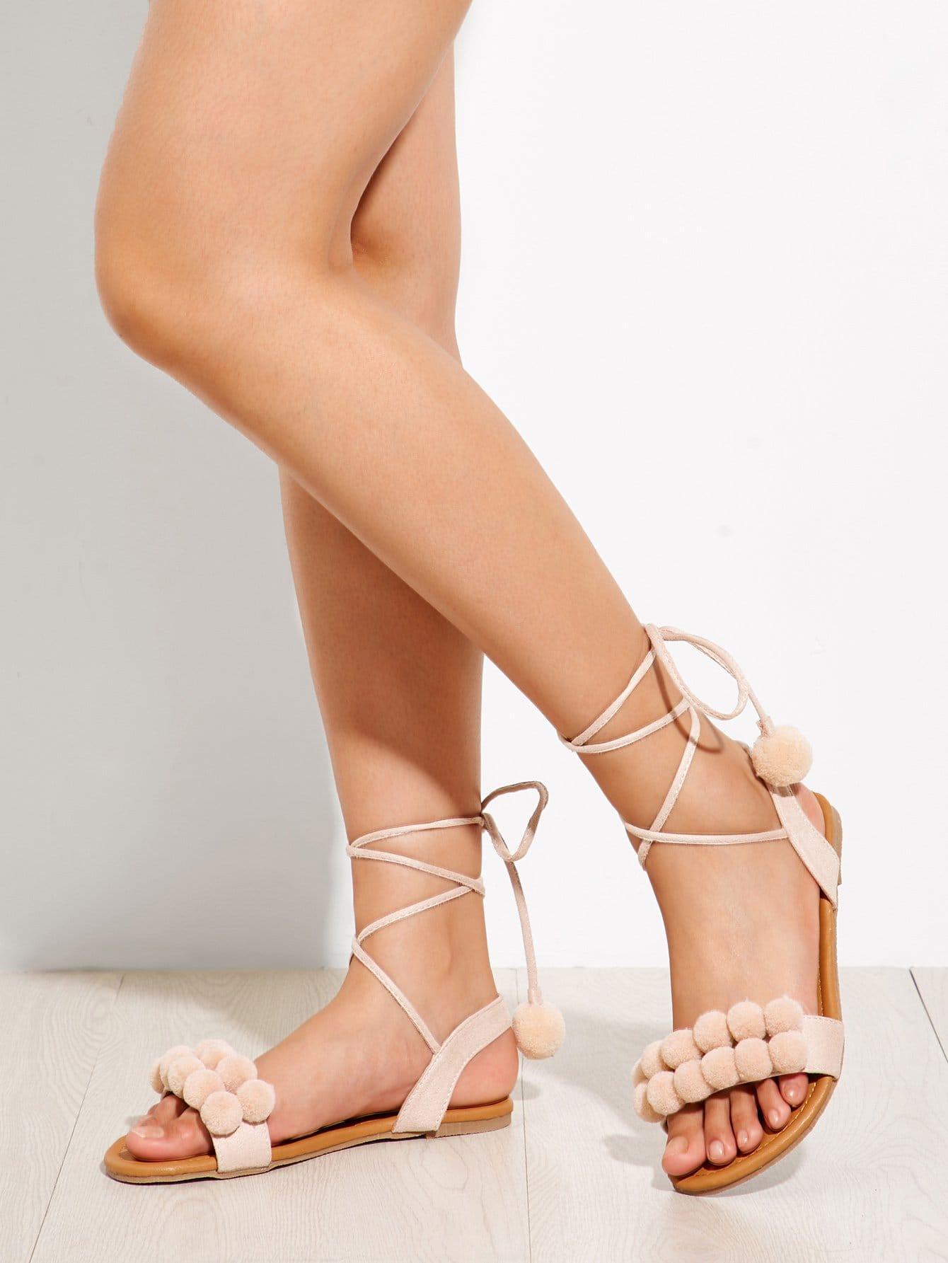 Pom Pom Decorated Lace Up Flat Sandals pom pom detail tie leg flat sandals