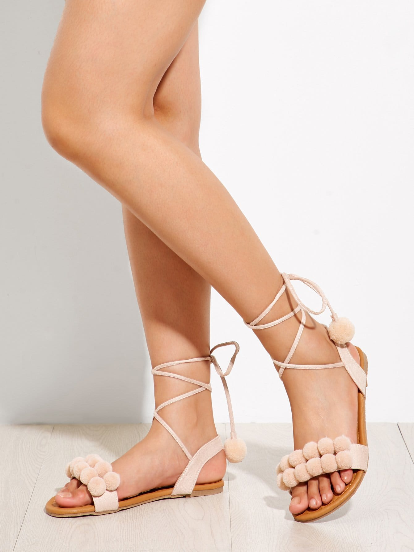 Купить Pom Pom украшен зашнурованными плоскими сандалиями, null, SheIn