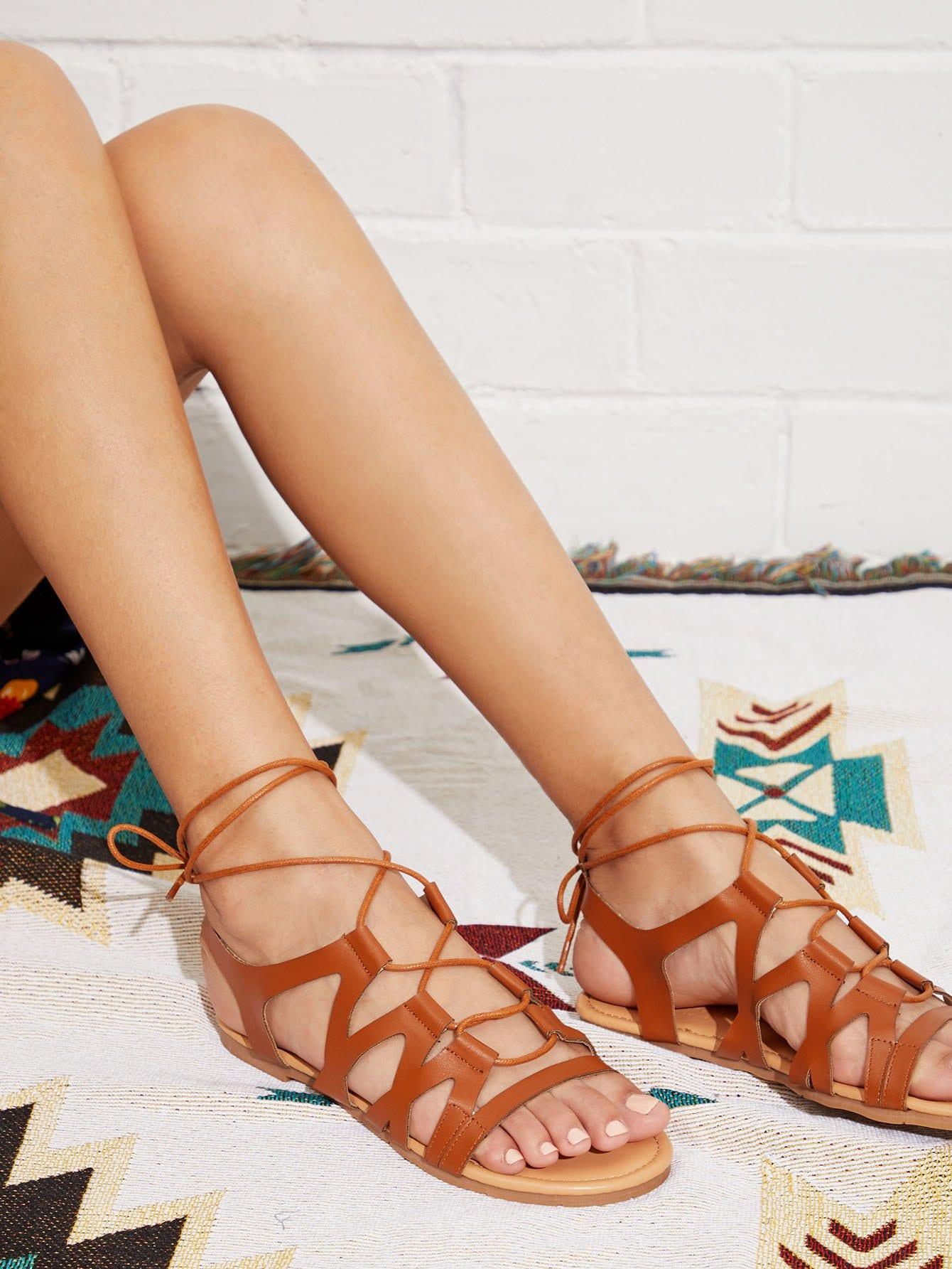 Peep Toe Criss Cross PU Flat Sandals fringe detail criss cross pu flat sandals