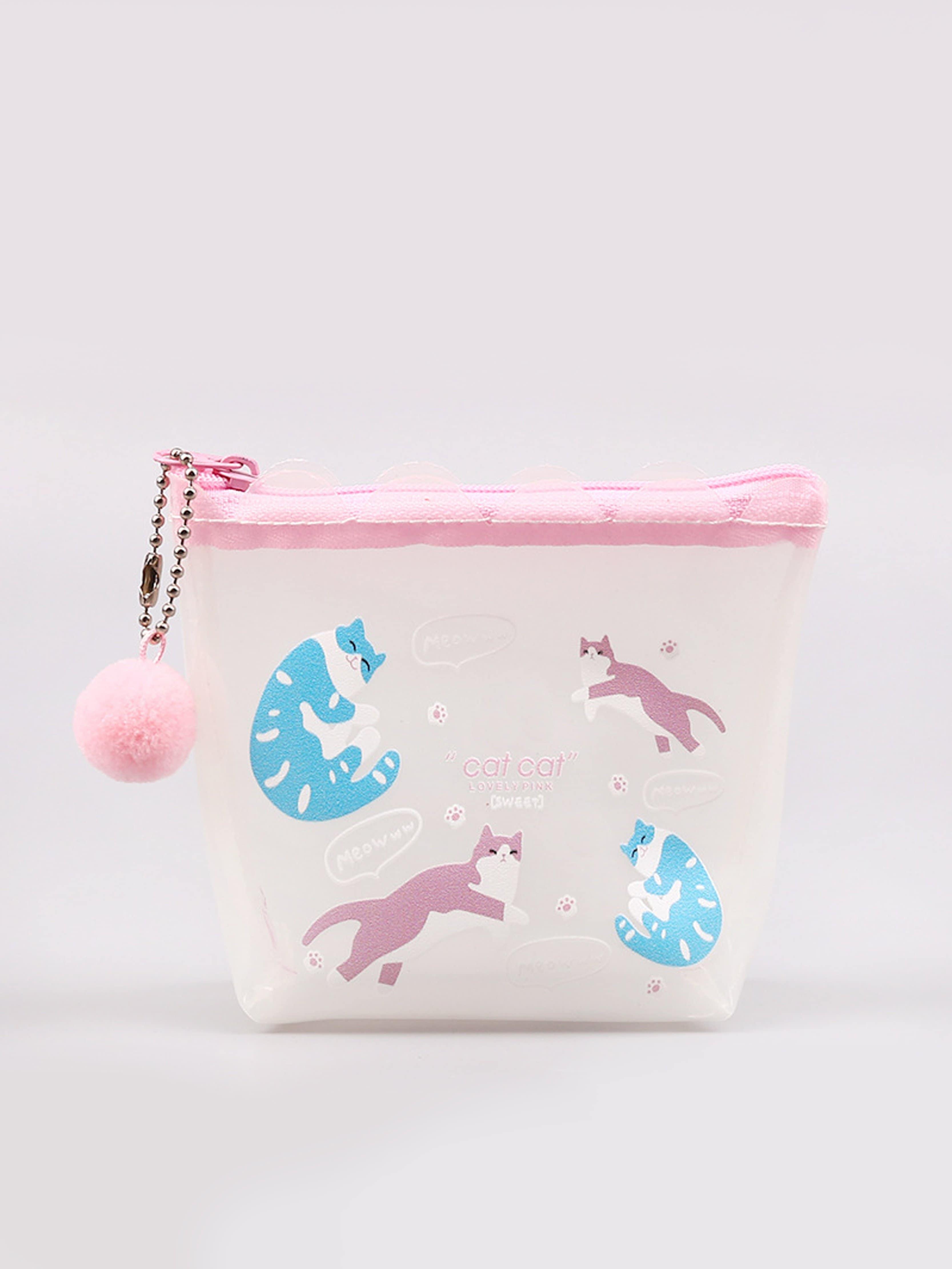 Cat Print Coin Purse 2017 cute girls coin purses small coin bag key ring kawaii bag kids mini wallet card holders leather cartoon coin purse1bw73