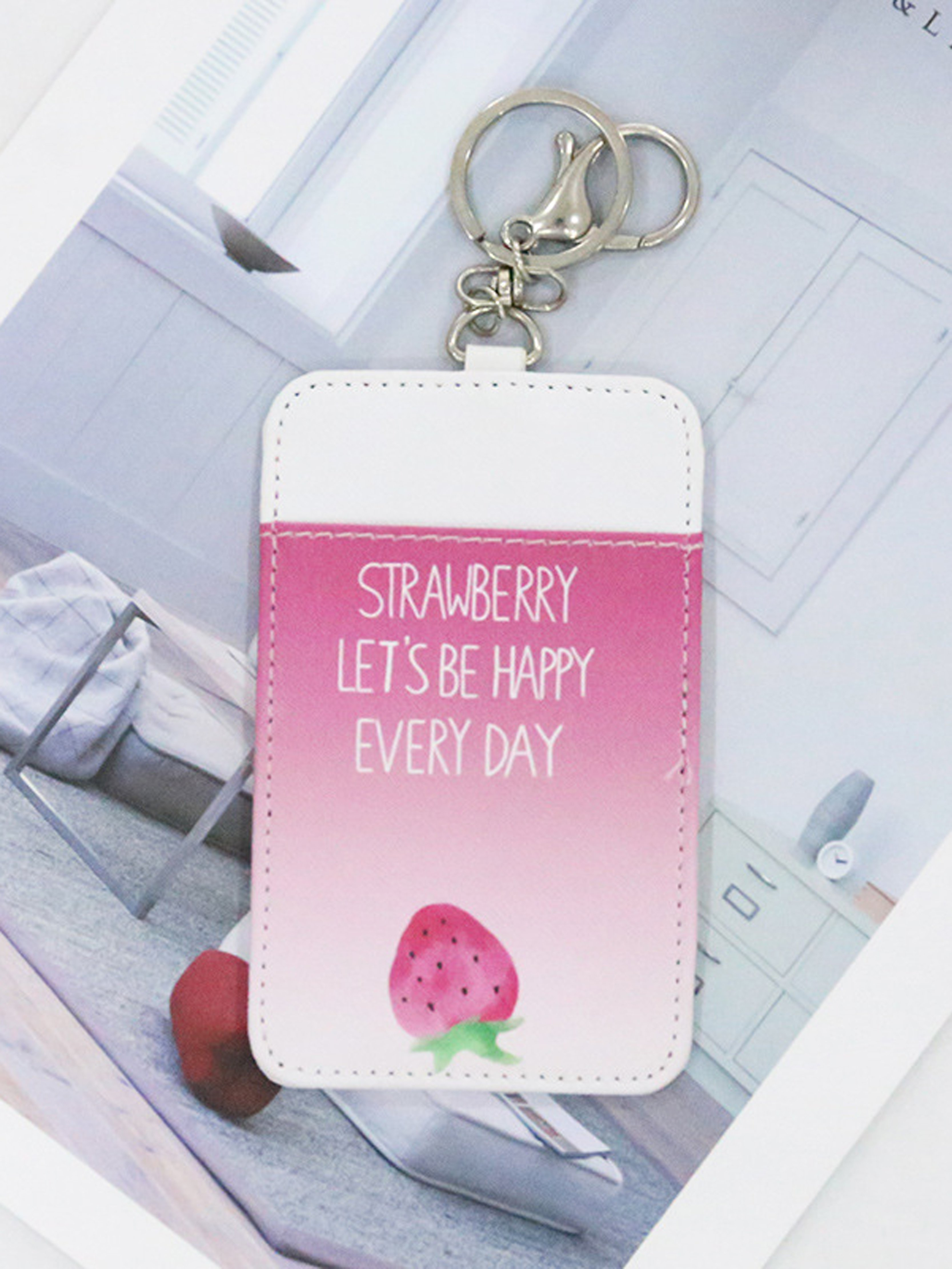 Strawberry Print Card Sleeve strawberry print pencil case