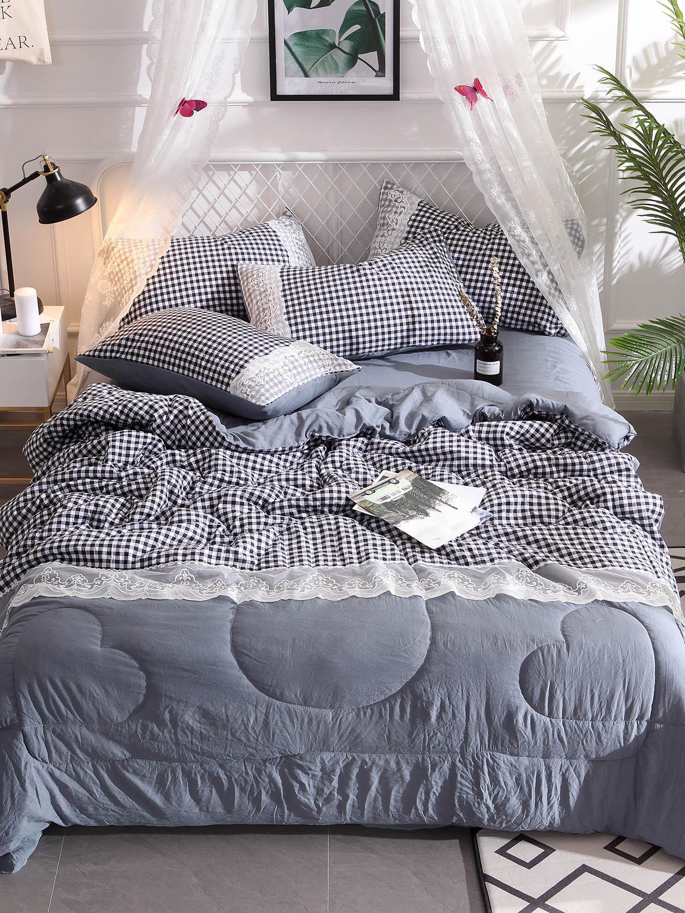 Solid Contrast Lace & Plaid Quilt Set plaid print solid quilt