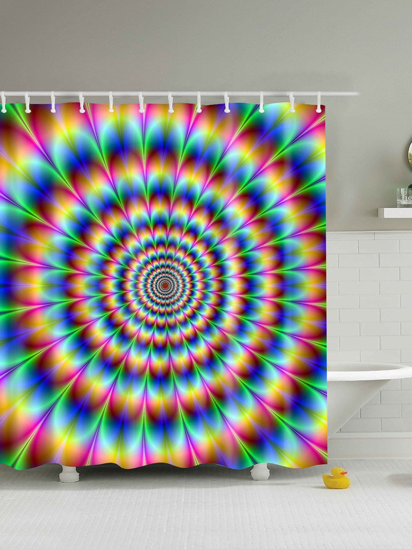 Spiral Tie Dye Shower Curtain With Hook 12pcs