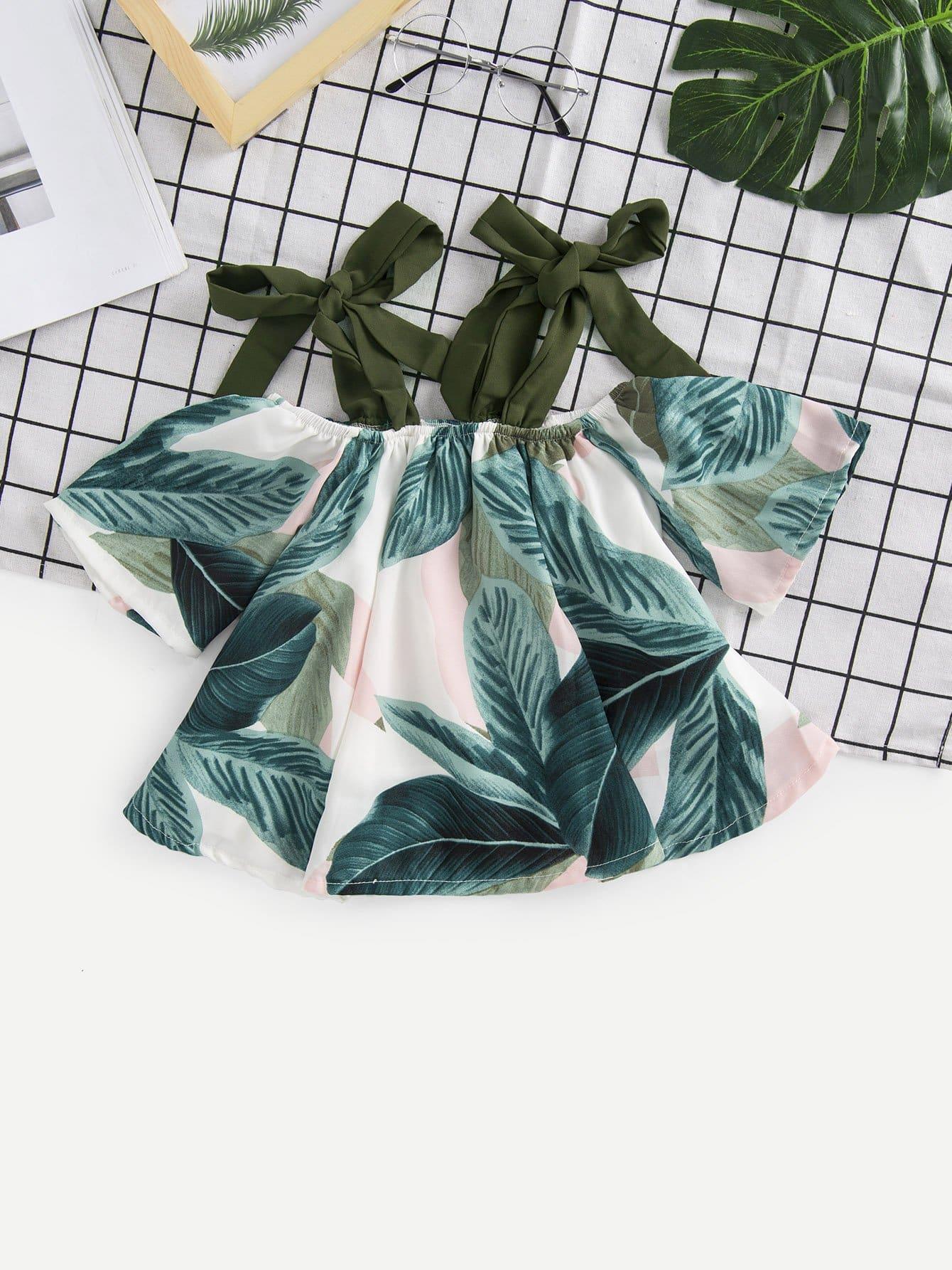 Девочки Тропический Печать Блузка Узел
