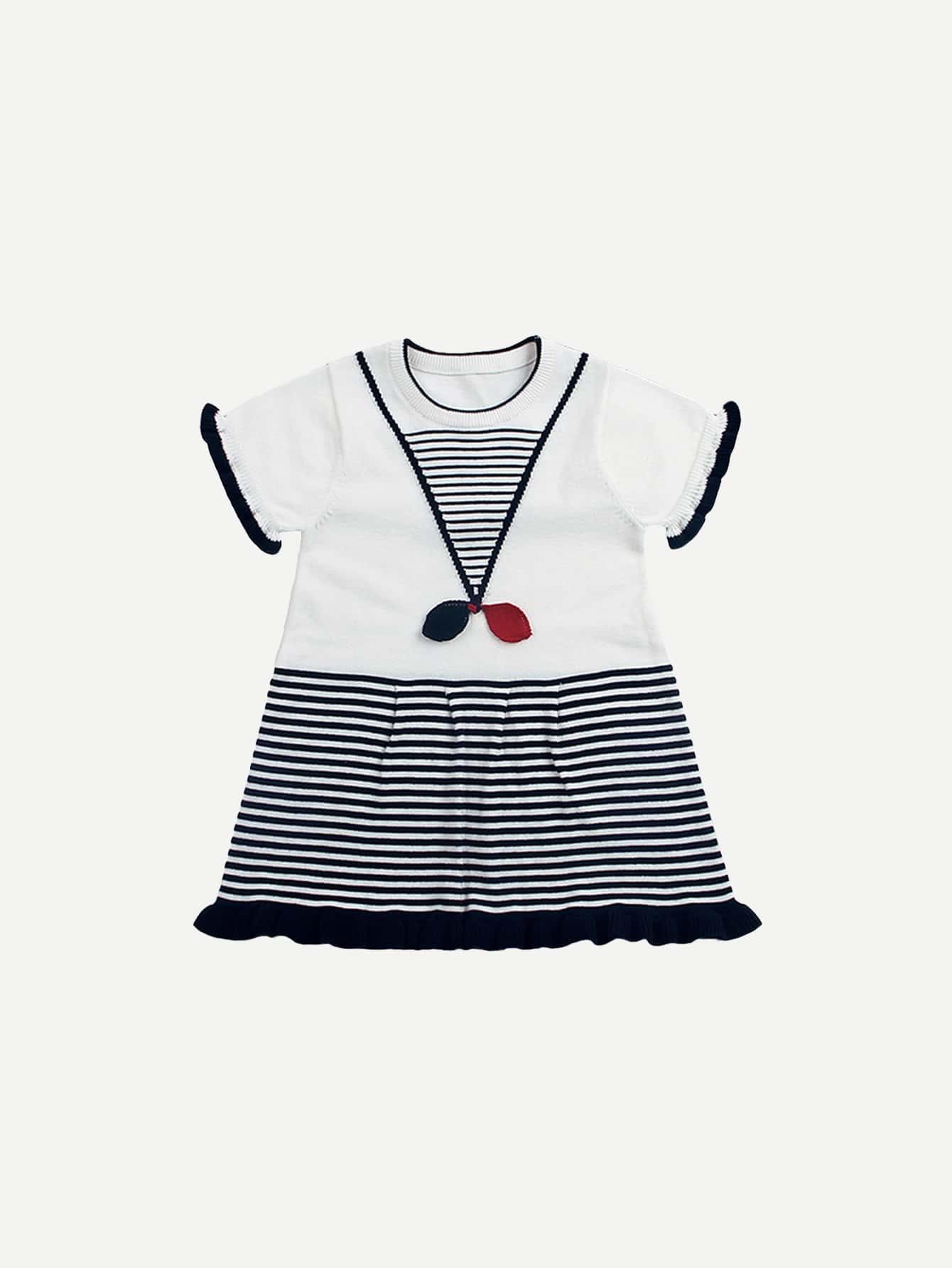 Girls Ruffle Hem Striped Dress striped sleeve ruffle dip hem dress