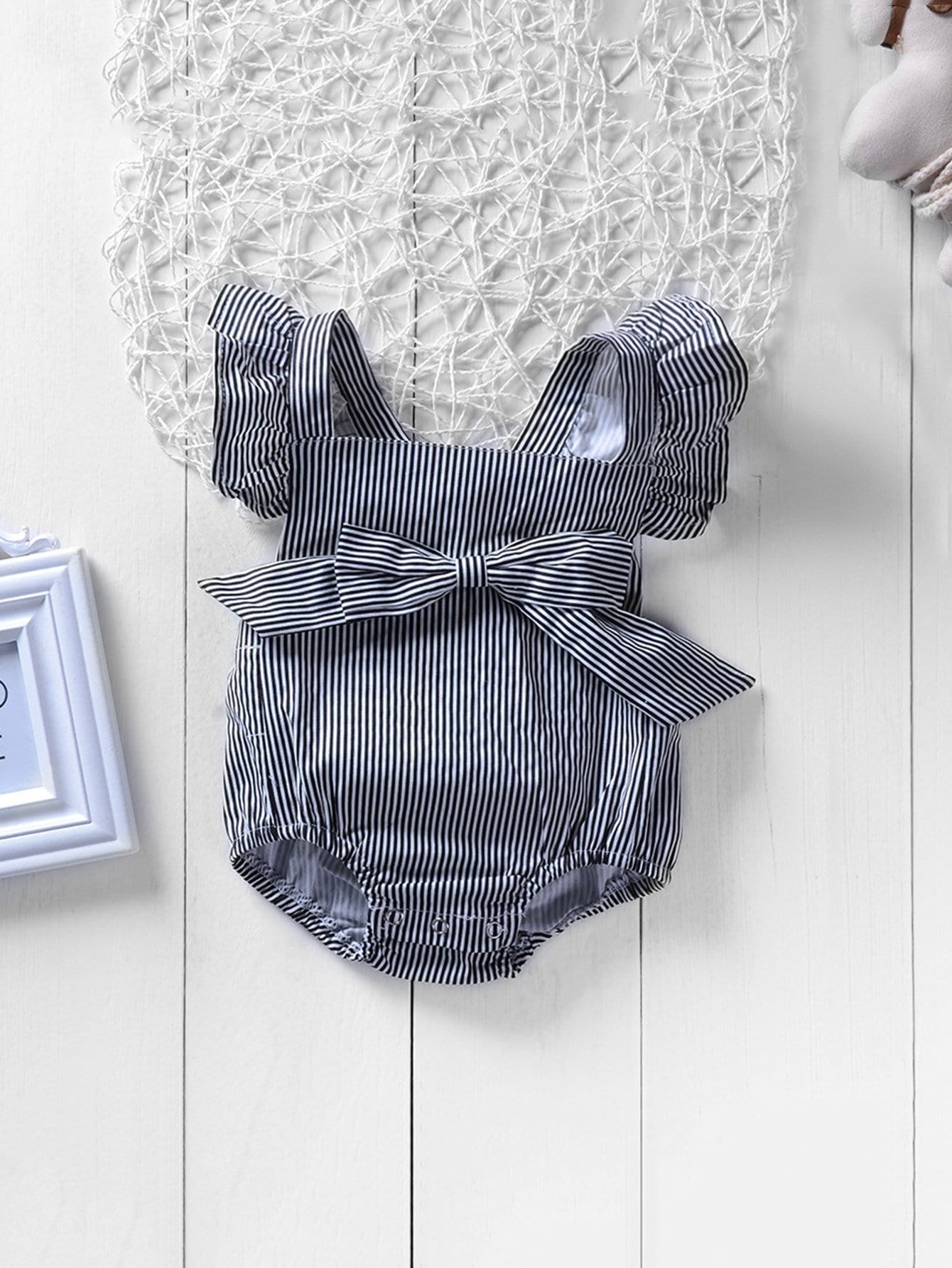 Girls Bow Detail Ruffle Trim Striped Jumpsuit