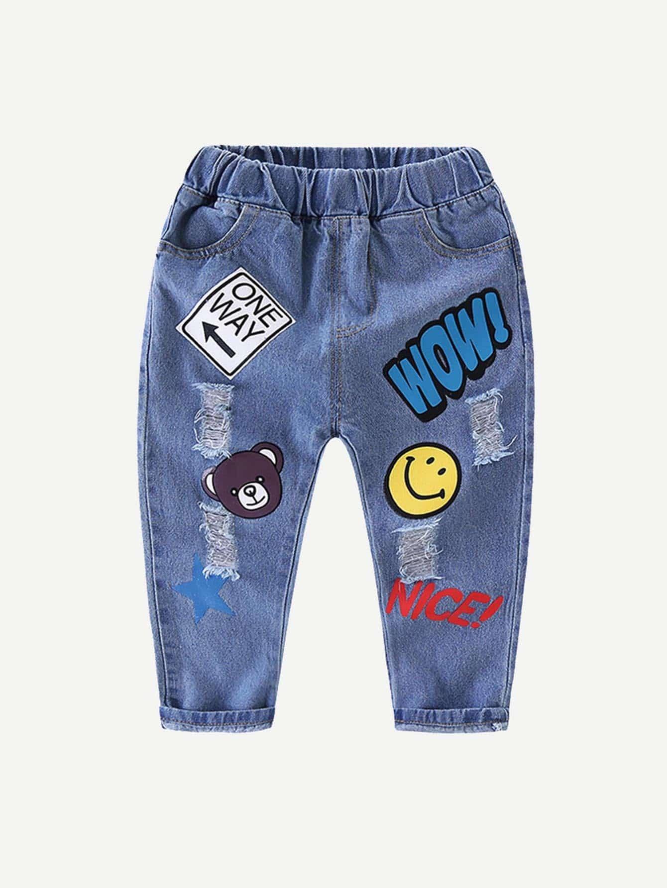 Boys Cartoon Print Destroyed Jeans цена 2017
