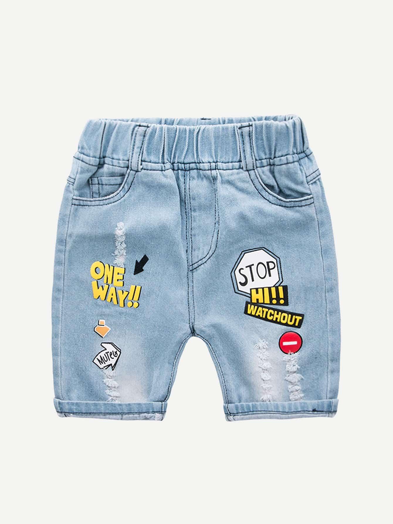 Boys Letter Print Destroyed Denim Shorts цена 2017