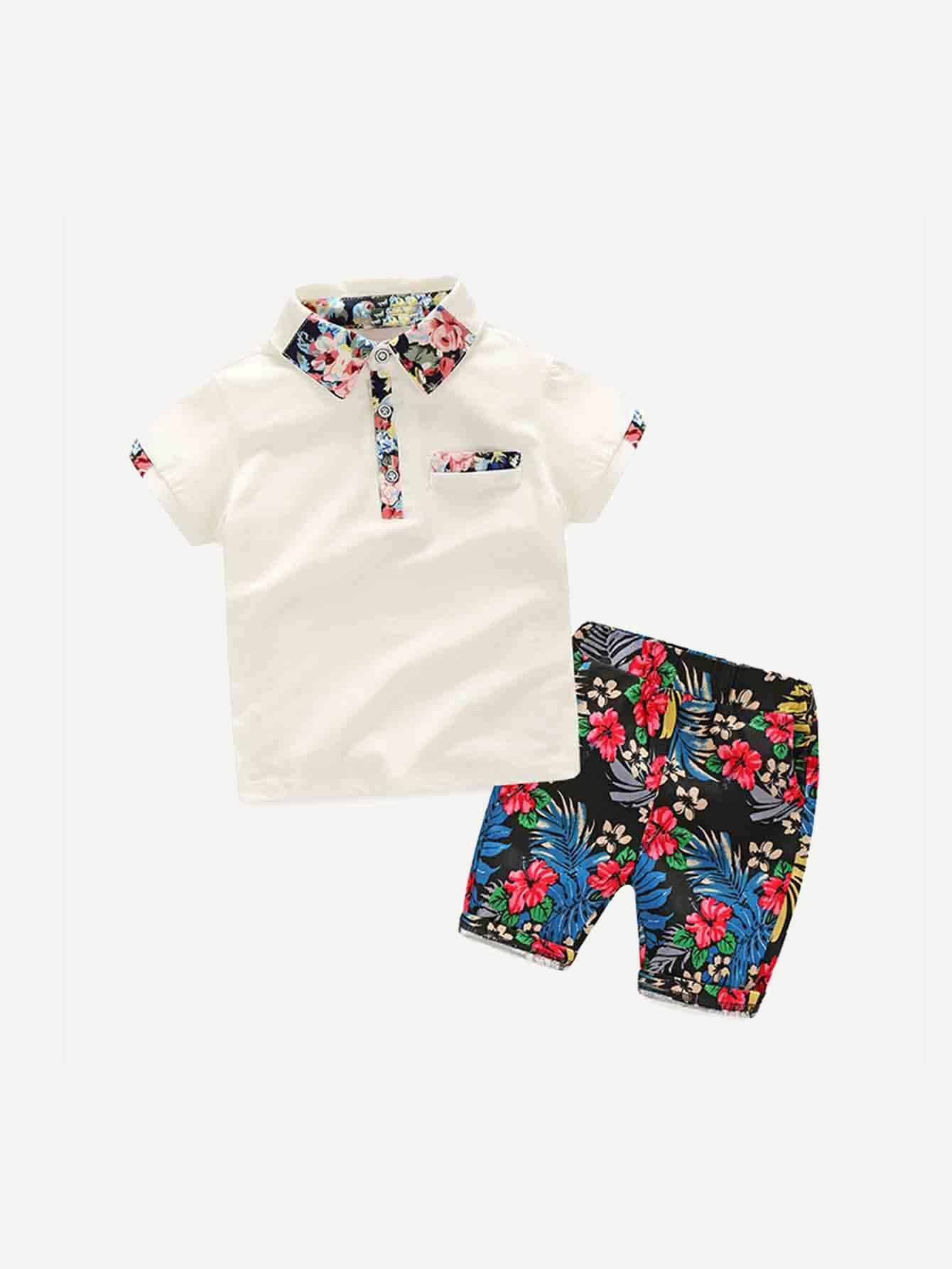 Мальчики Цветочный Принт Рубашка-Поло С Шортами