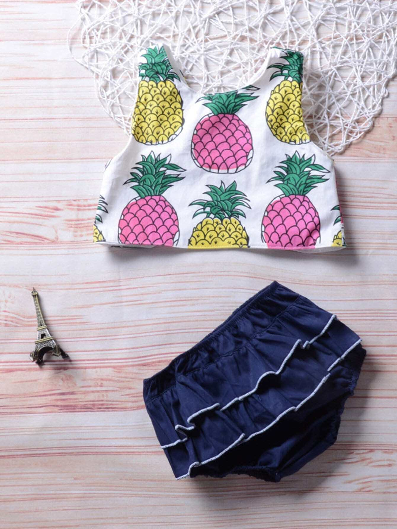Pineapple Print Vest With Shorts kids pineapple print vest