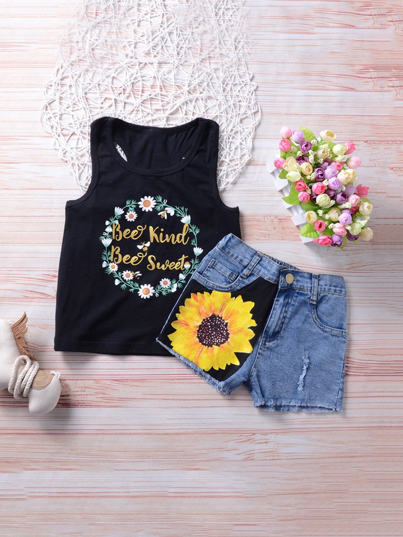 Kids Letter Print Vest With Floral Print Denim Shorts kids pineapple print vest