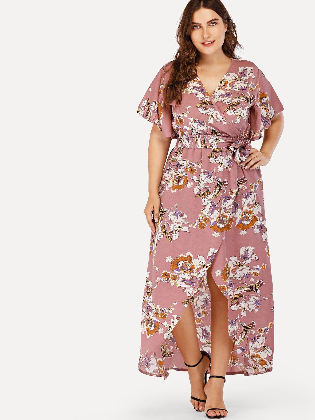 Plus Self Tie Waist Floral Print Dress self tie floral