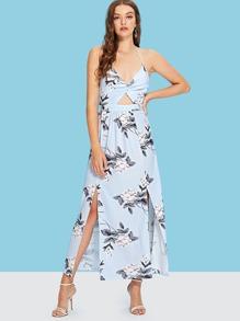 Cut Out Split Hem Floral Dress
