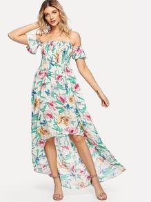 Off Shoulder Dip Hem Floral Dress