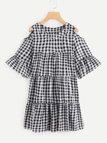 Cold Shoulder Checked Dress