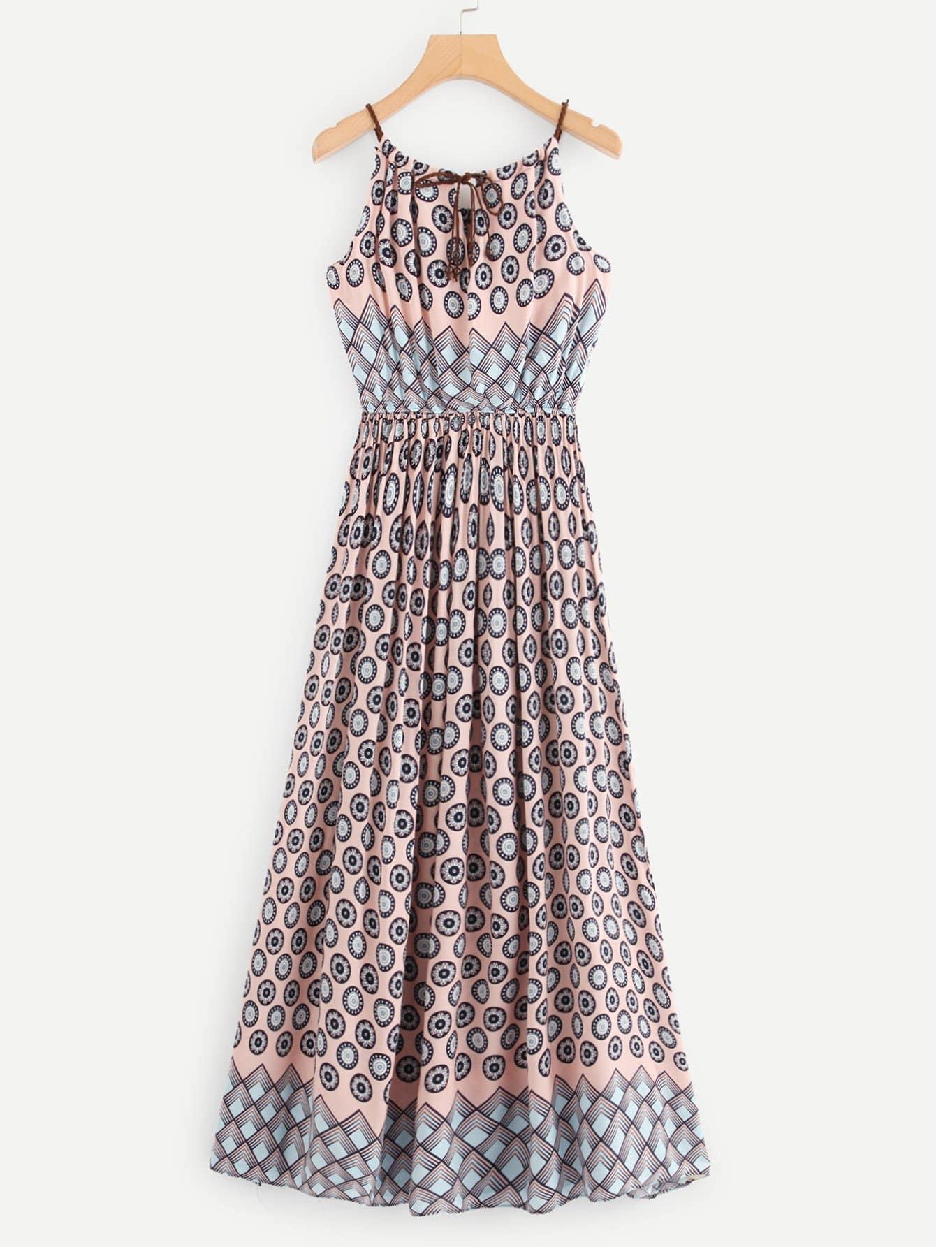 Geo Print Tie Neck Dress tied neck geo print flare dress