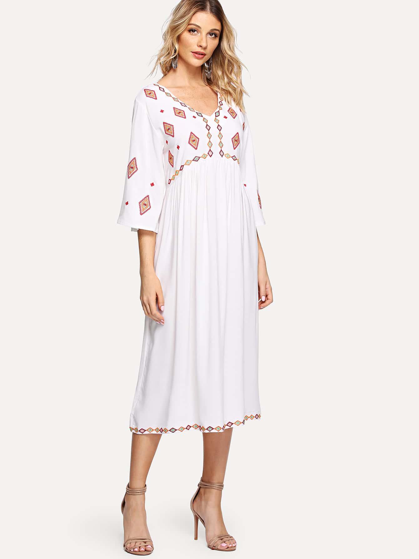 V Neckline Geo Embroidered Dress v neckline geo print dress