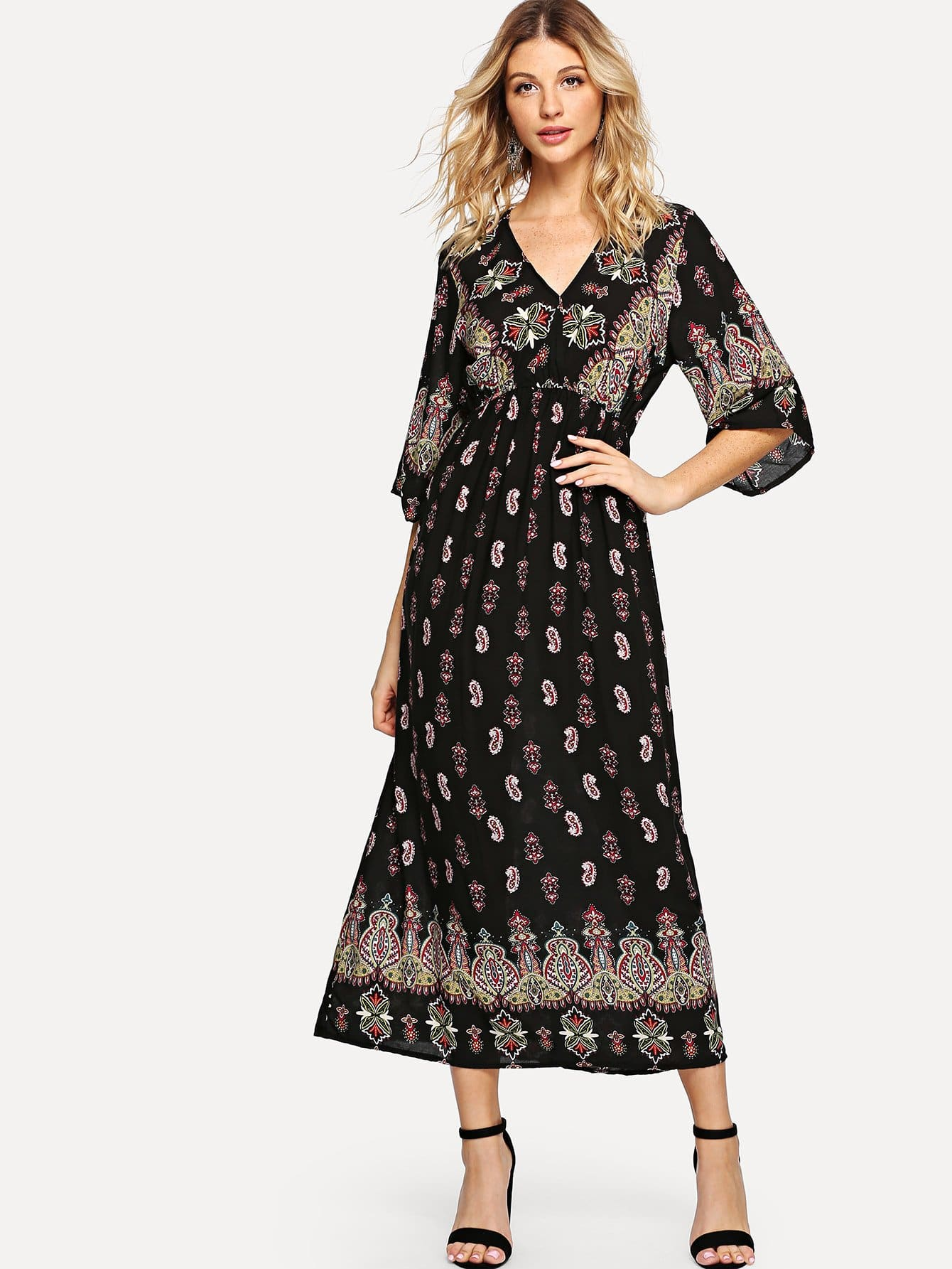 Geo Print V Neckline Dress v neckline geo print dress
