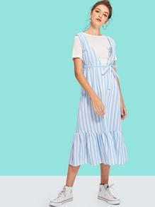 Knot Front Ruffle Hem Striped Dress