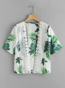 Crochet Trim Leaf Print Kimono