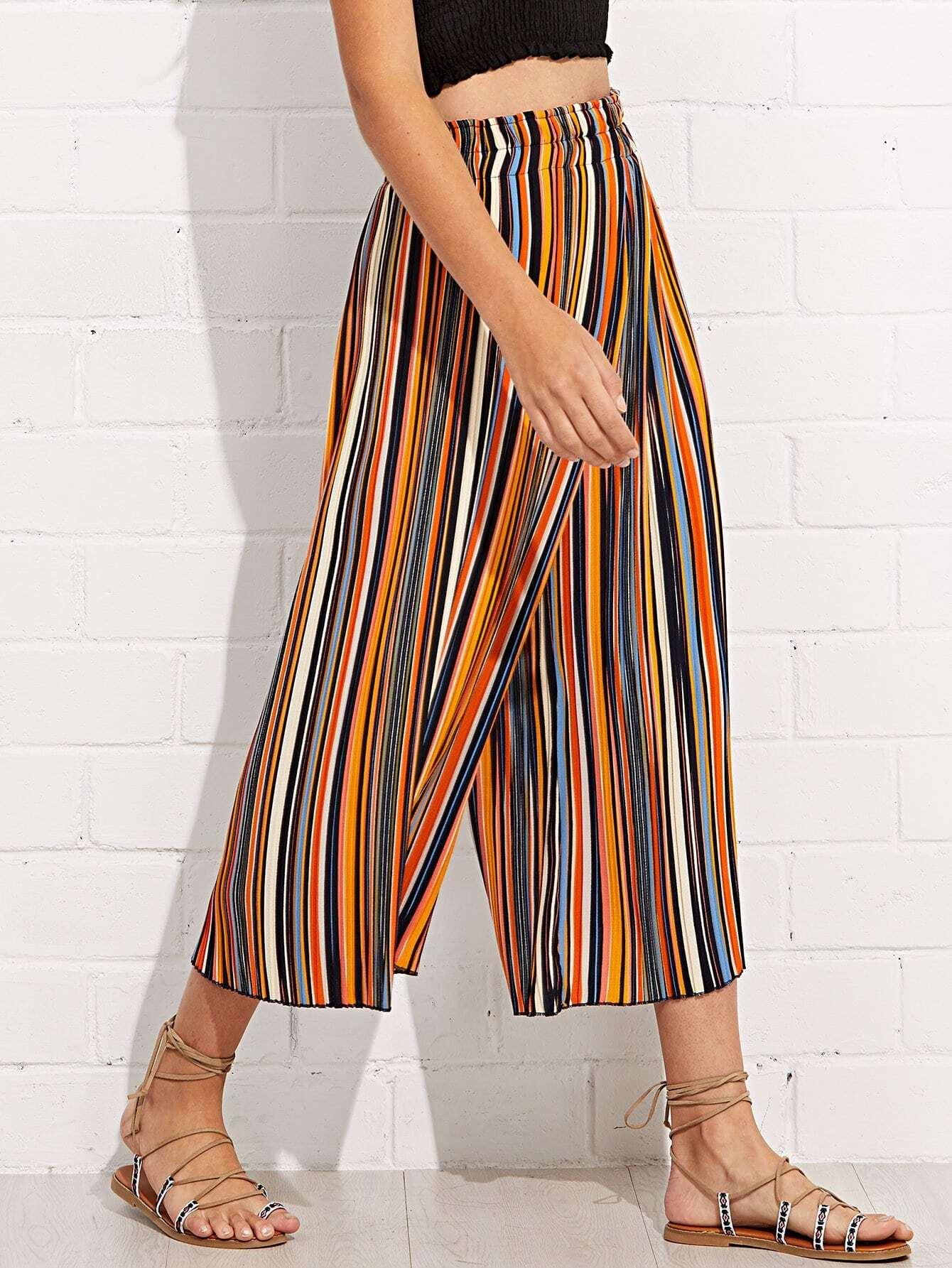 Купить Полосатые брюки с широкими ногами, Luiza, SheIn