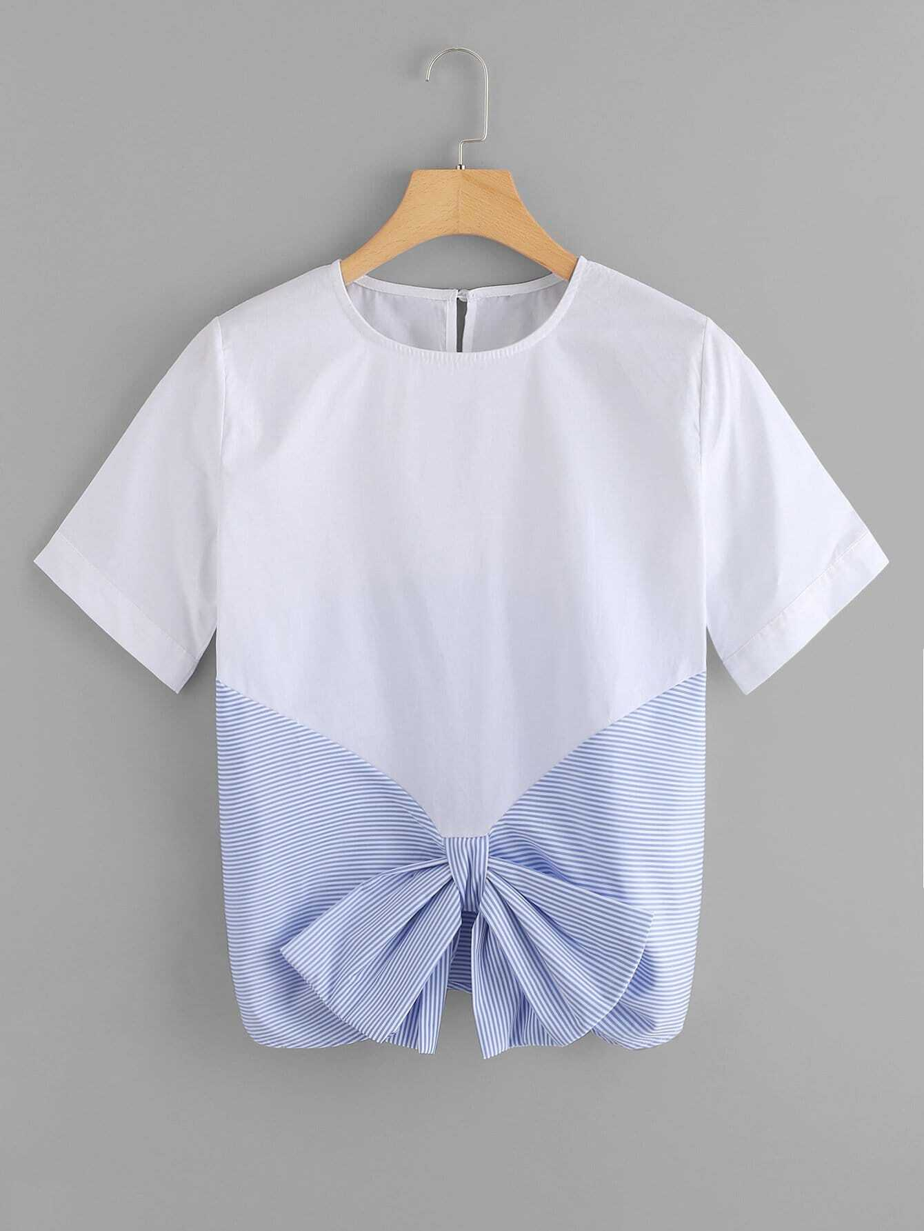 Contrast Striped Bow Tee contrast striped tee