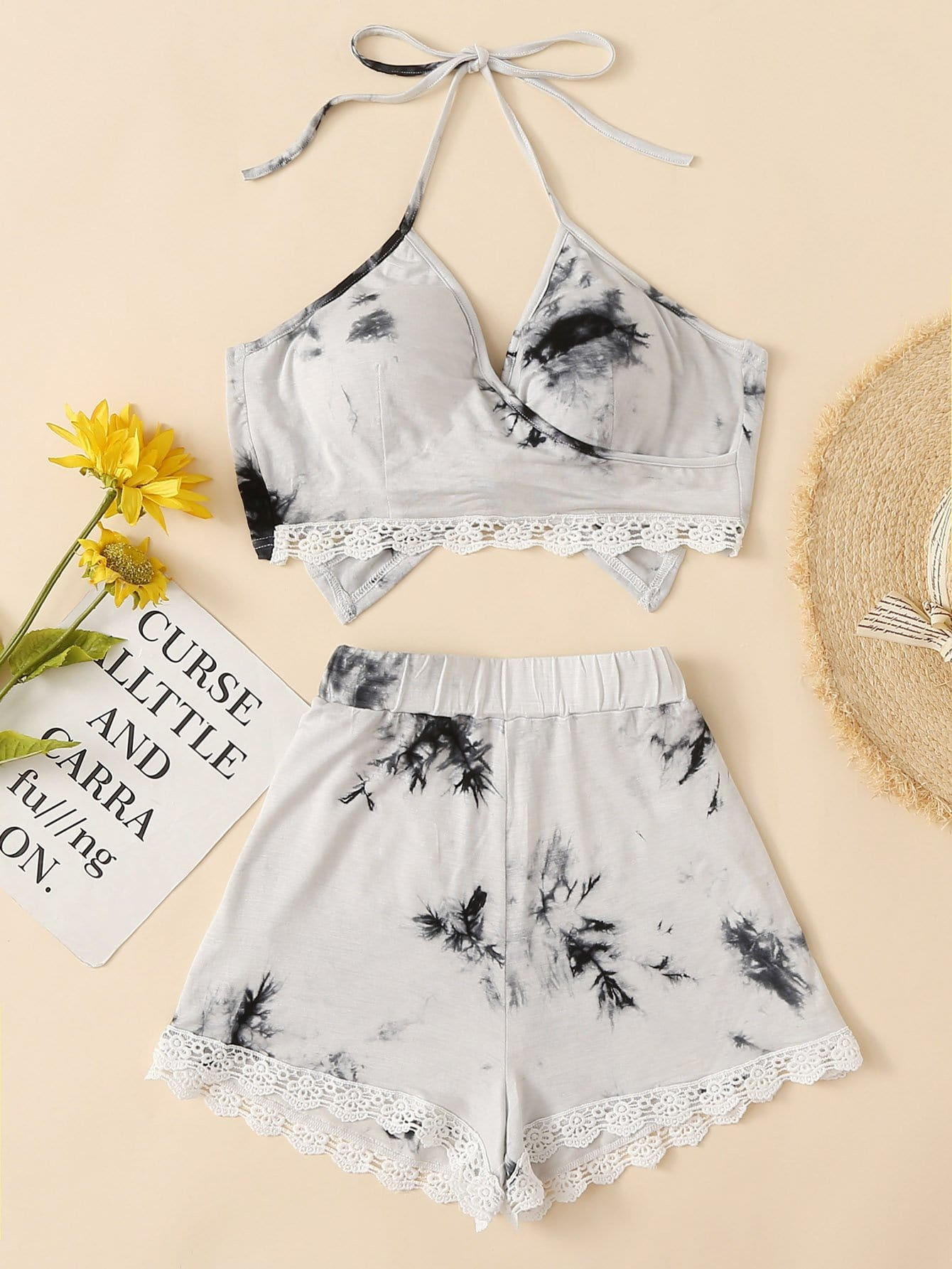 Lace Hem Water Color Halter Top With Shorts halter neck water color crop top with ringer shorts