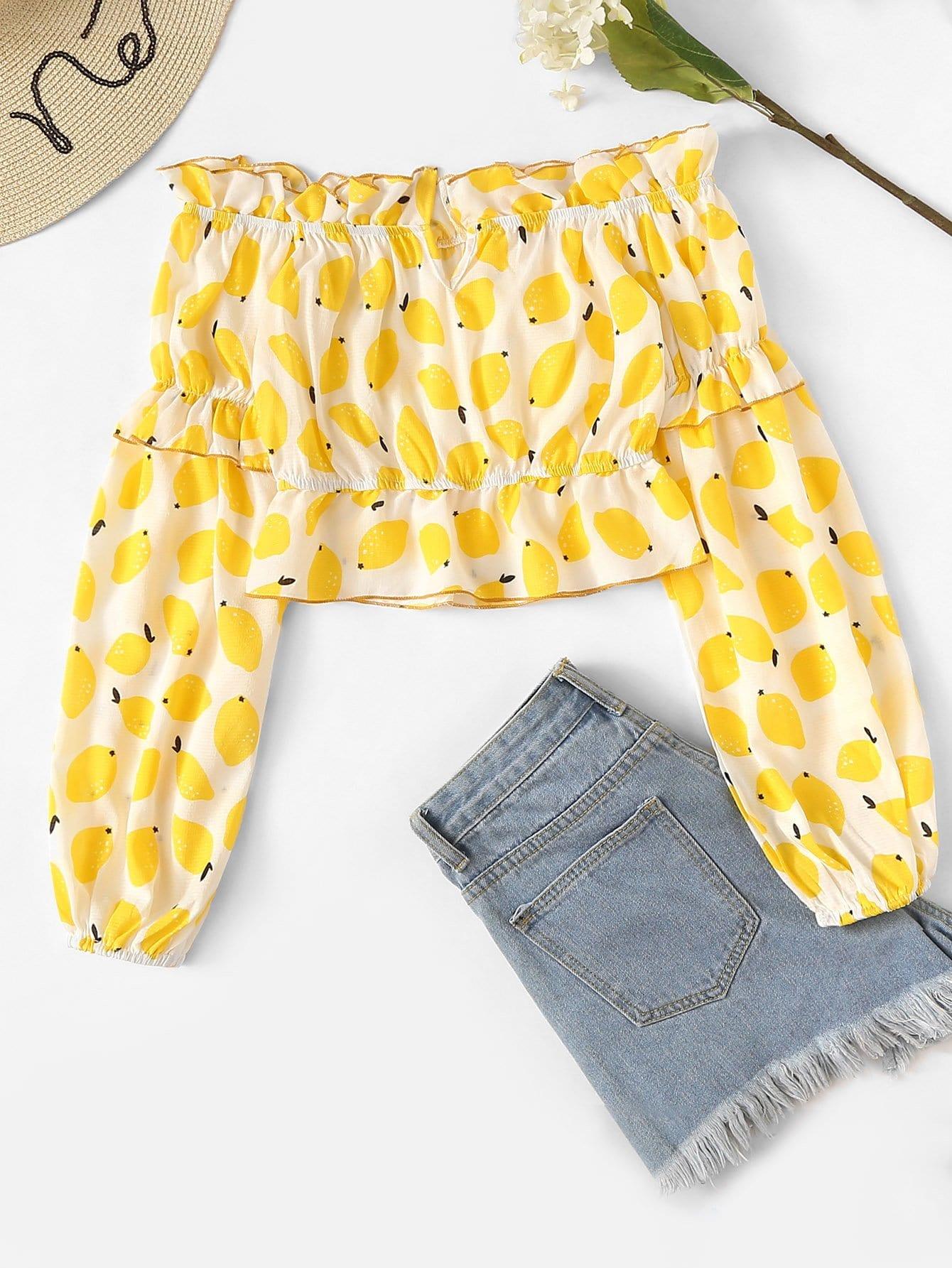 Fruit Print Ruffle Trim Frill Blouse ruffle trim floral print blouse