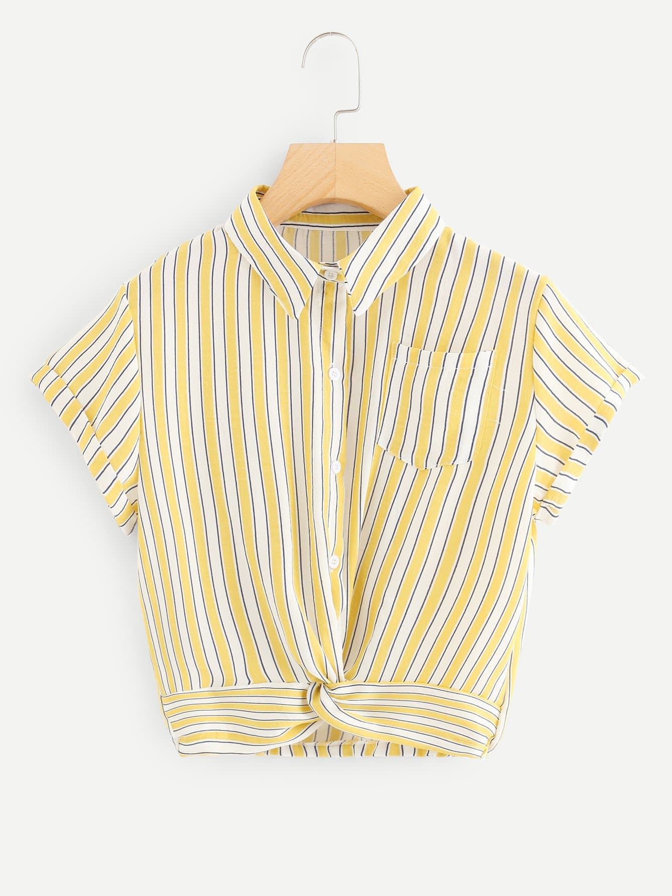 Striped Pocket Button Twist Blouse