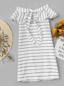 Off Shoulder Ruffle Trim Striped Dress