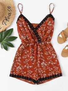 Floral Print Contrast Lace Ruched Waist Jumpsuit
