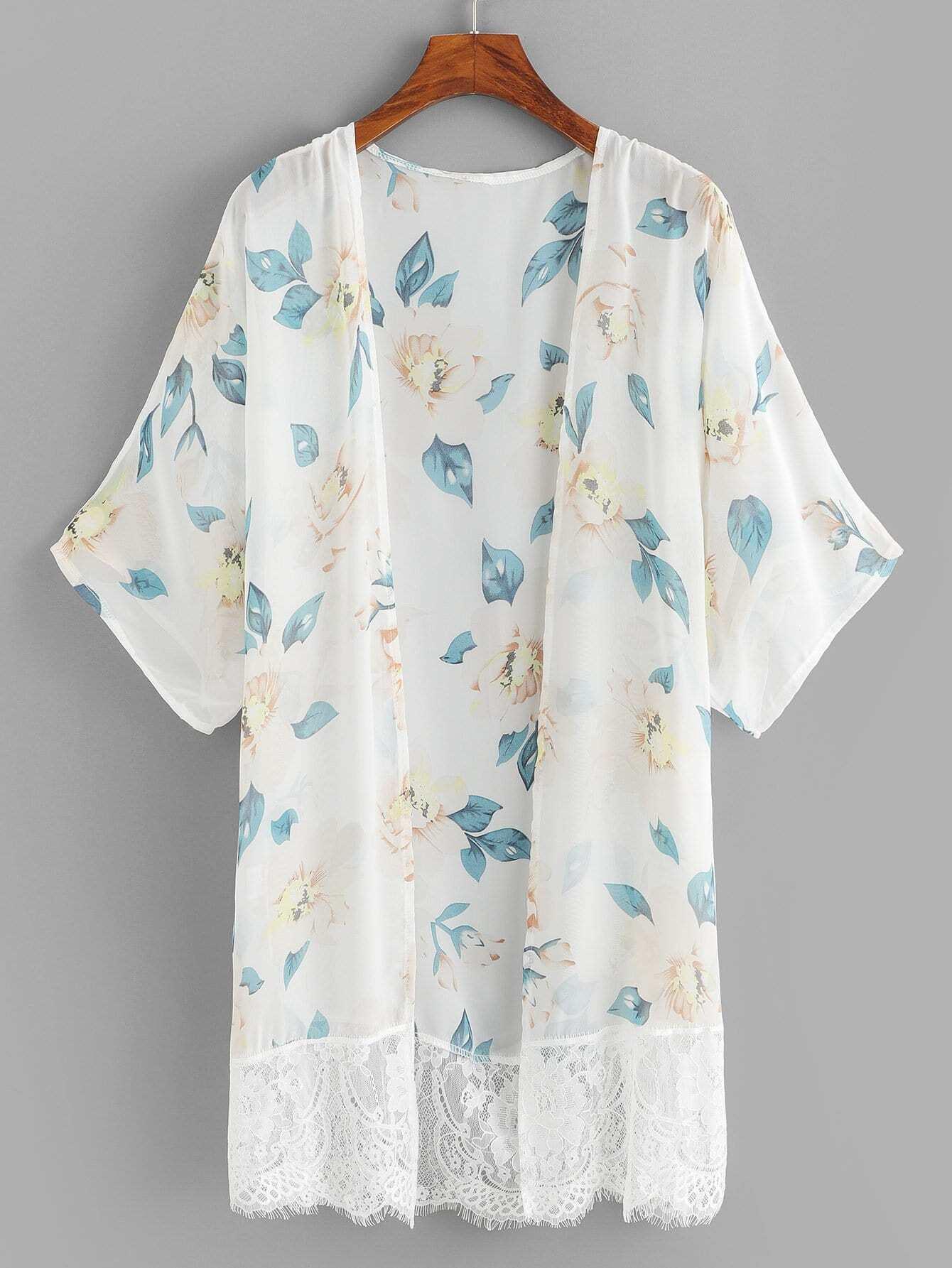 Купить Повседневный Цветочный Контрастные кружева кимоно Бежевые Кимоно, null, SheIn