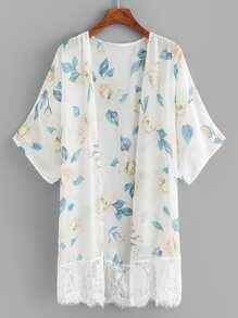 Floral Print Contrast Lace Kimono