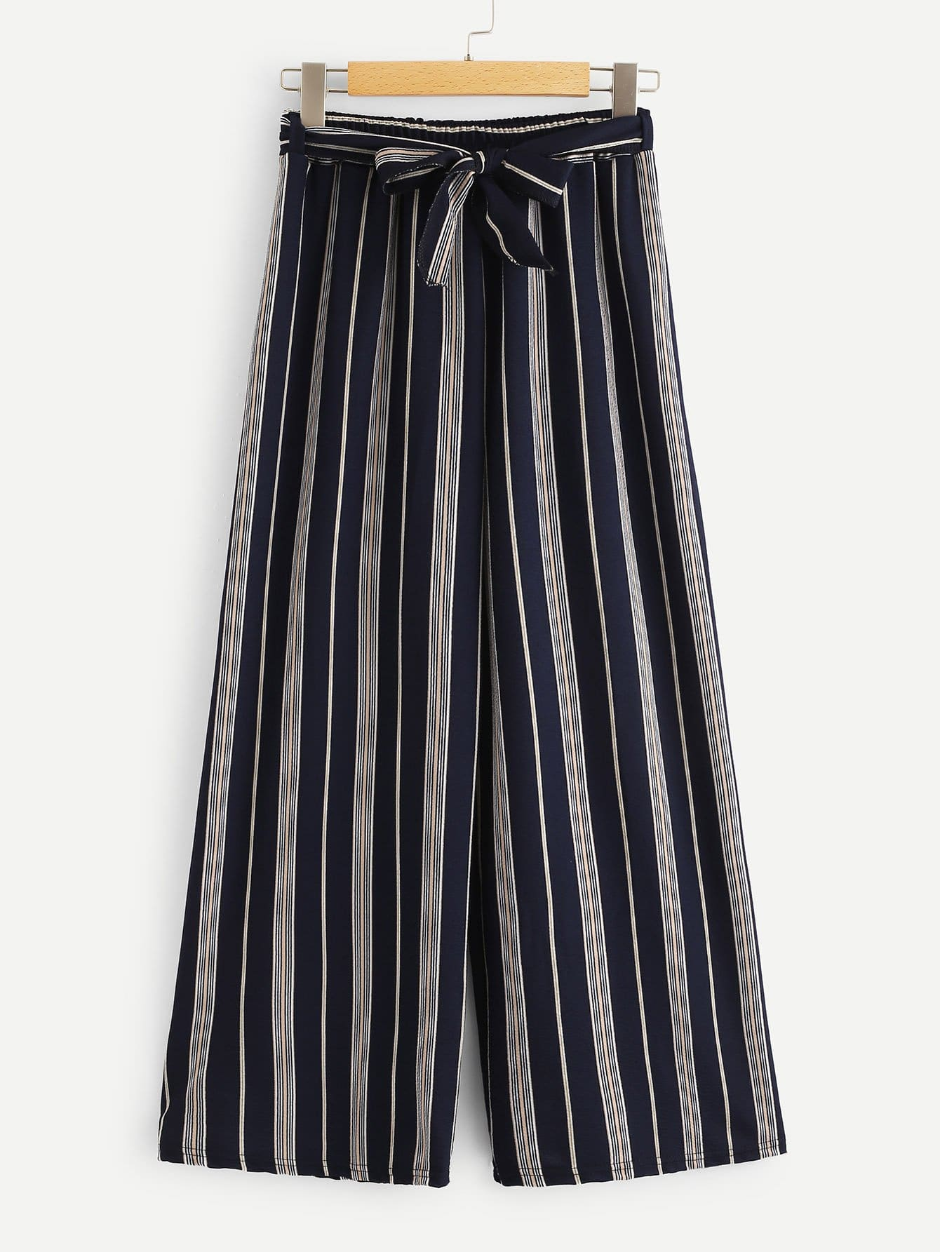 Belted Striped Wide Leg Pants