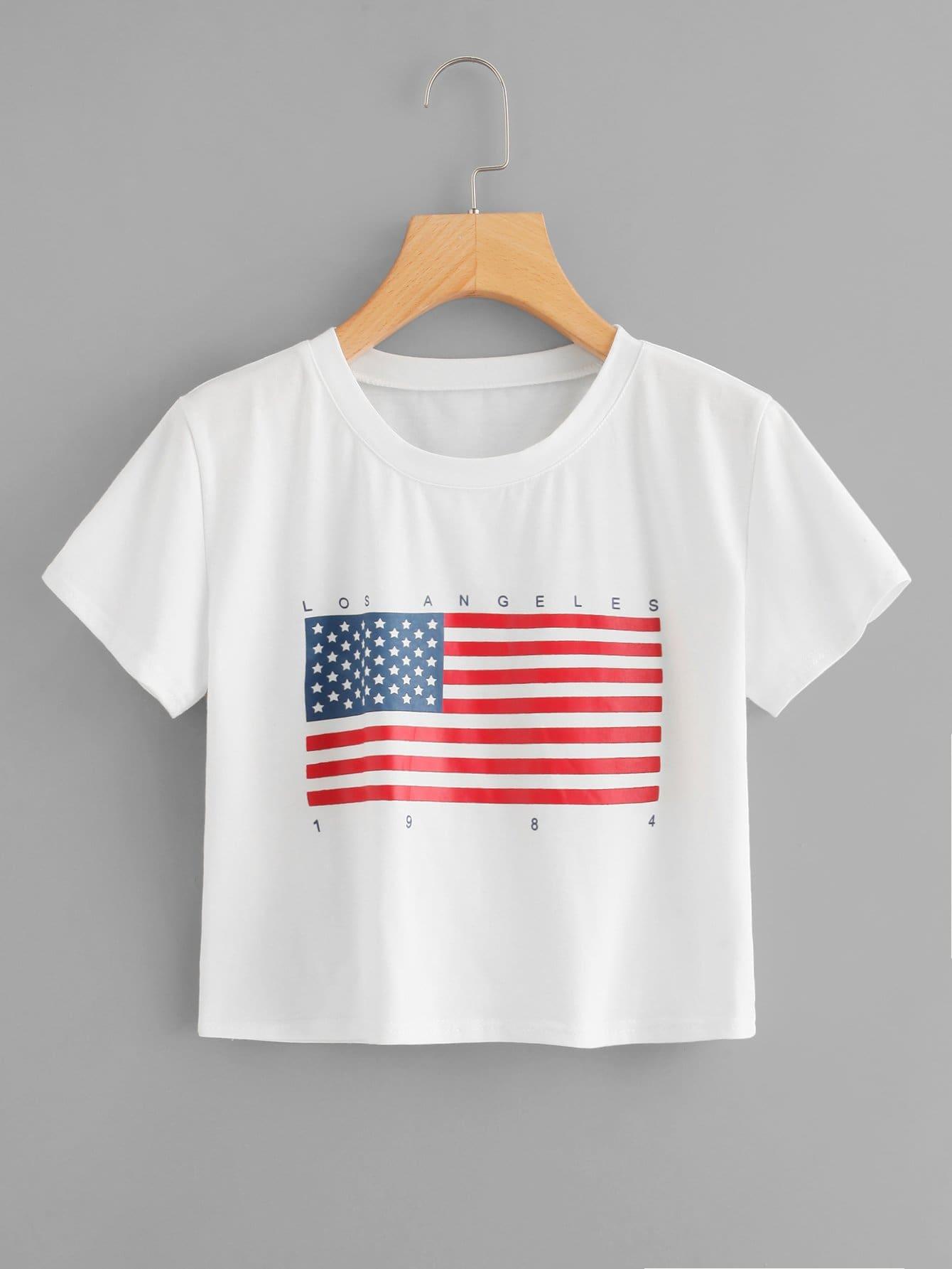 T-Shirt mit Amerikanische Flagge Muster