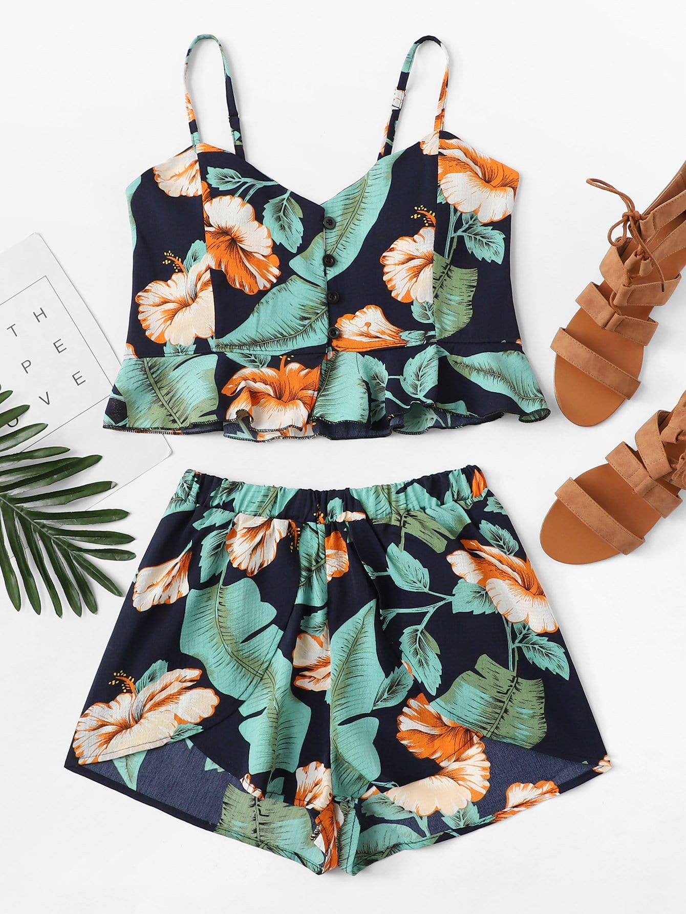 Ruffle Hem Floral Cami Top With Shorts