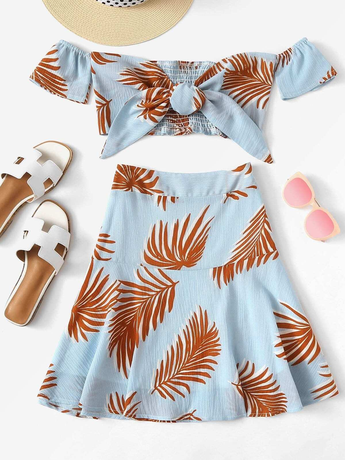 Off Shoulder Knot Leaf Print Top Skirt